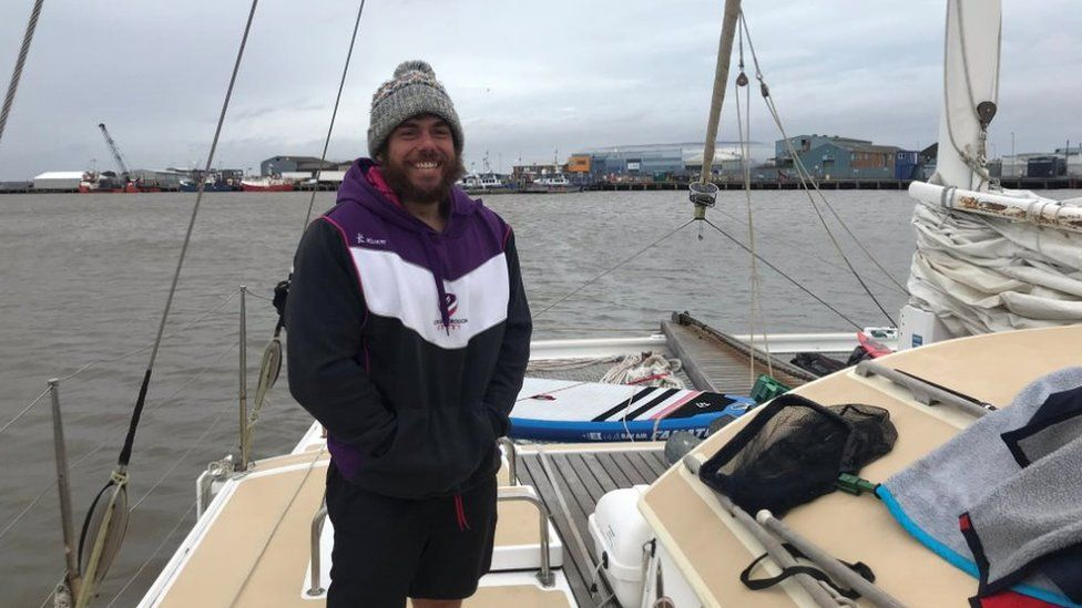 Ross Edgley on a boat in Grimsby