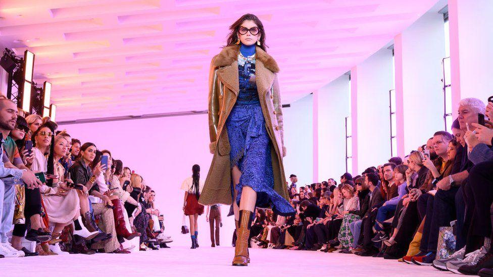 Model Kaia Gerber walking at Paris Fashion Week