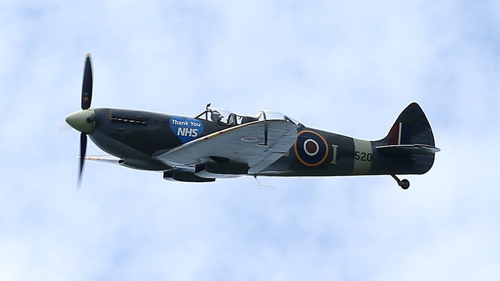 """Spitfire with """"Thank You NHS"""" message"""