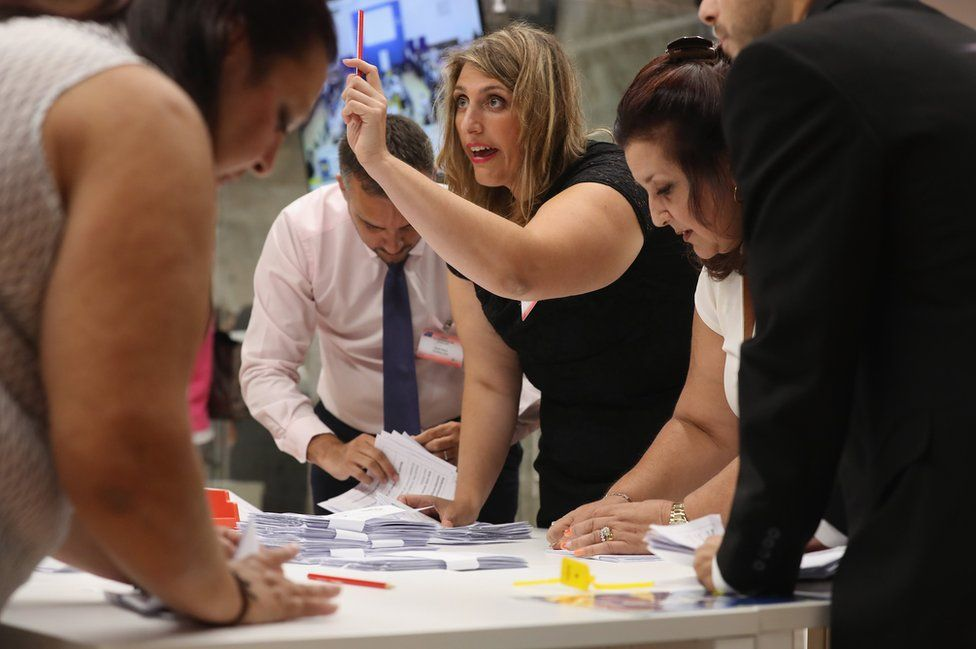 Referendum workers verify the validity of ballots in the verification centre before counting at Gibraltar University