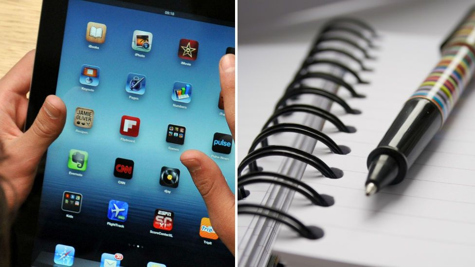 iPad and notepad and pen