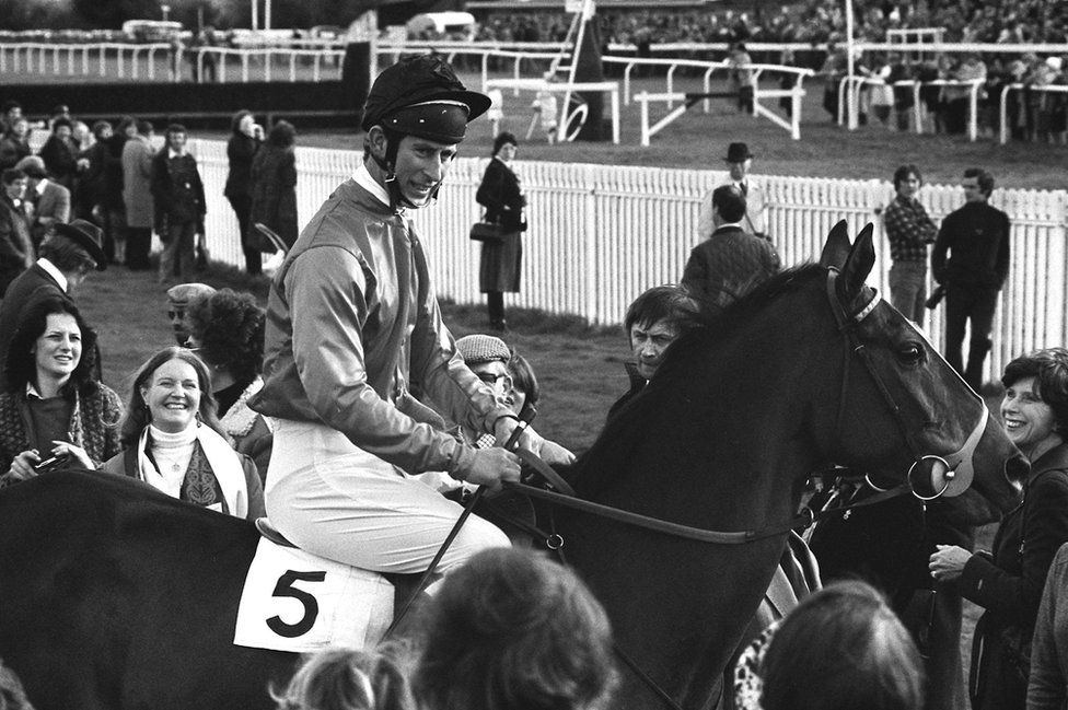 Prince Charles after riding in a steeplechase