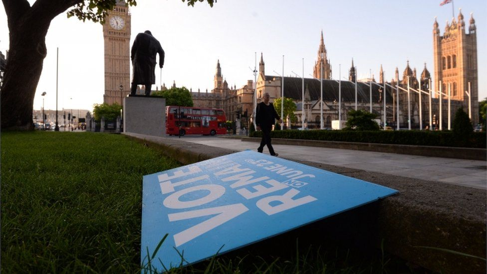 Remain campaign placard in Westminster