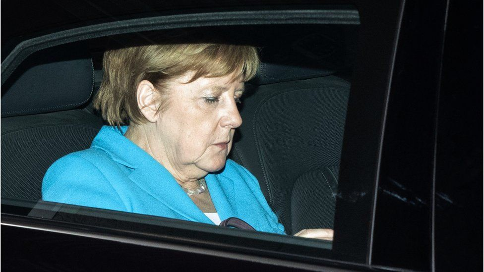 German Chancellor Angela Merkel leaves after a party leadership meeting at the CDU headquarters in Berlin, on July 2, 2018