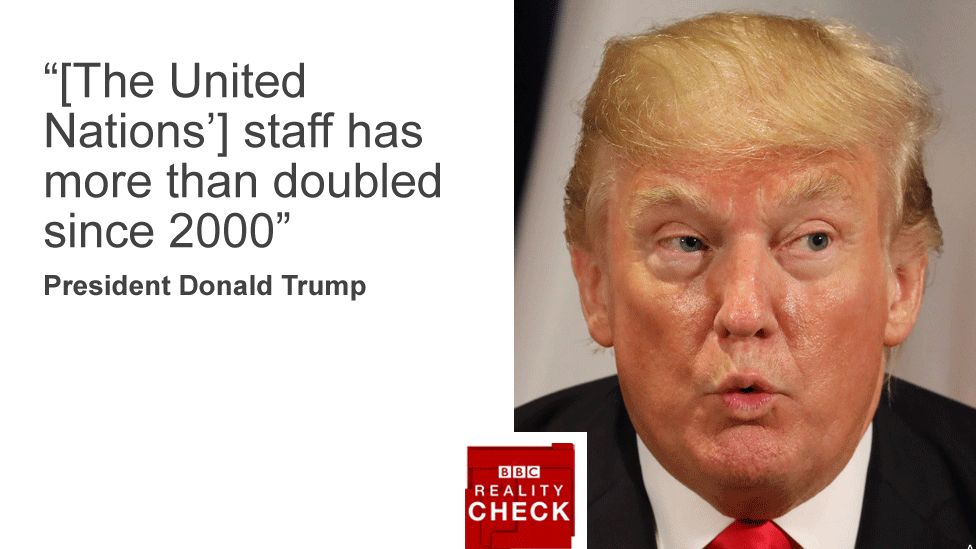"Quote card with image of Donald Trump reads: ""The United Nations' staff has more than doubled since 2000"""