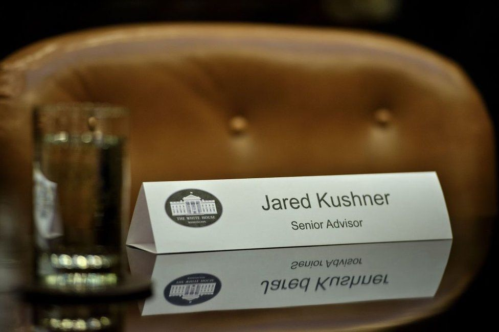 Jared Kushner's place setting at a White House meeting