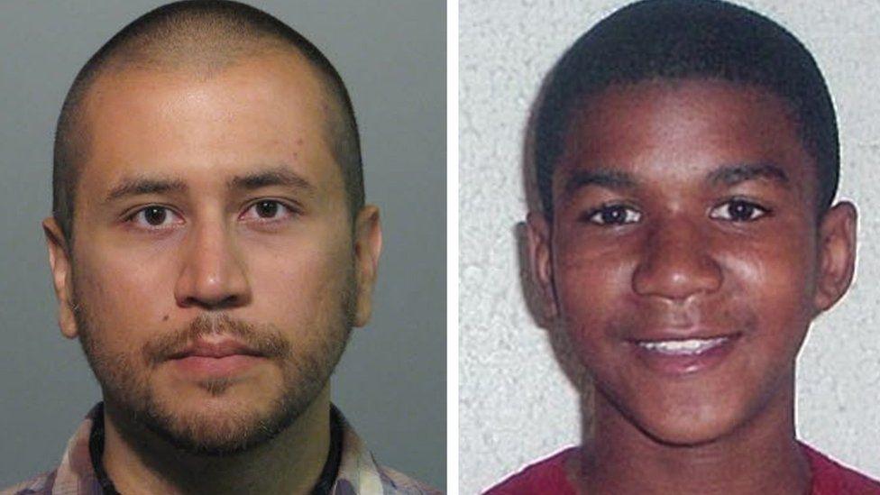 Headshots of neighbourhood watch volunteer George Zimmerman (L) and Trayvon Martin