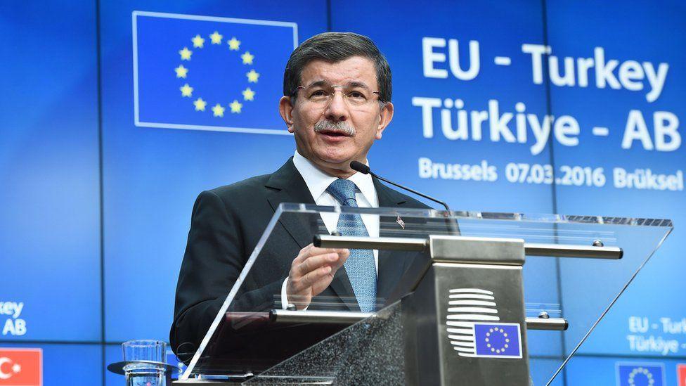 Turkey's Prime Minister Ahmet Davutoglu at summit with EU