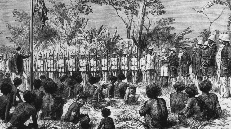 Hoisting the Union Jack at Port Moresby in 1885