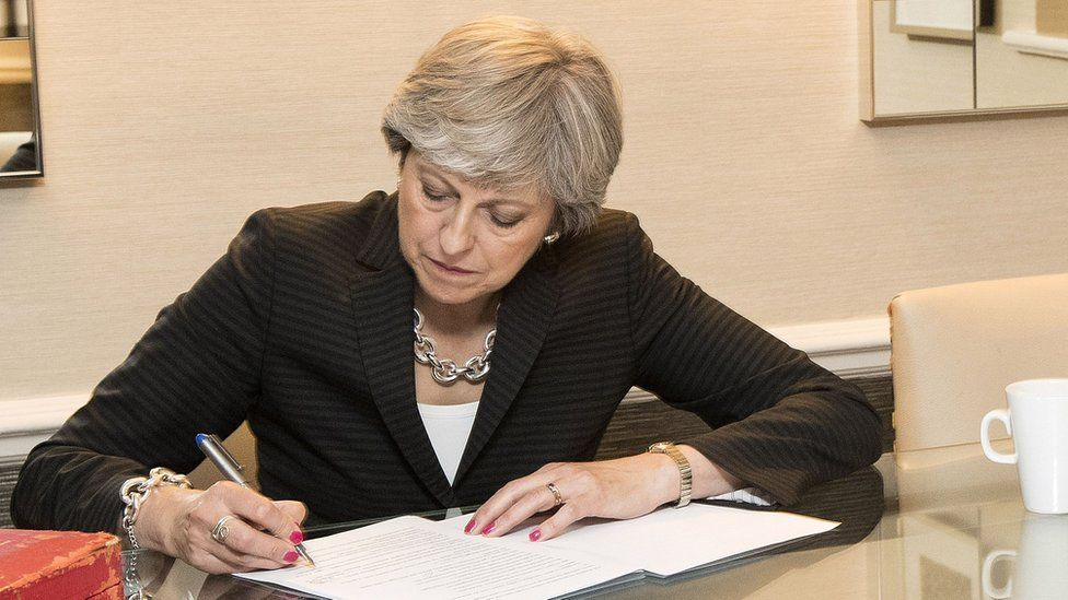 Theresa May writing her conference speech in 2017