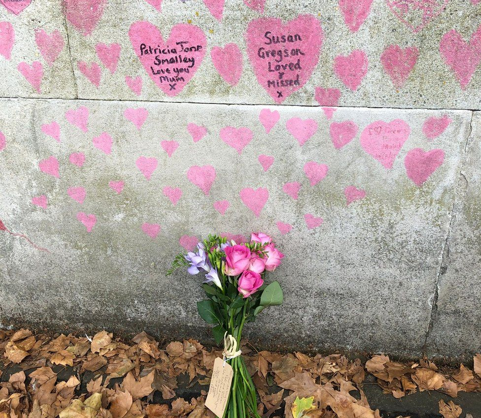 Hearts on memorial wall