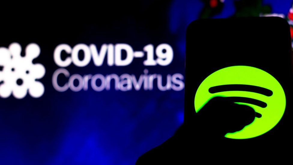 Spotify app against a background showing the words Covid-19 and Coronavirus
