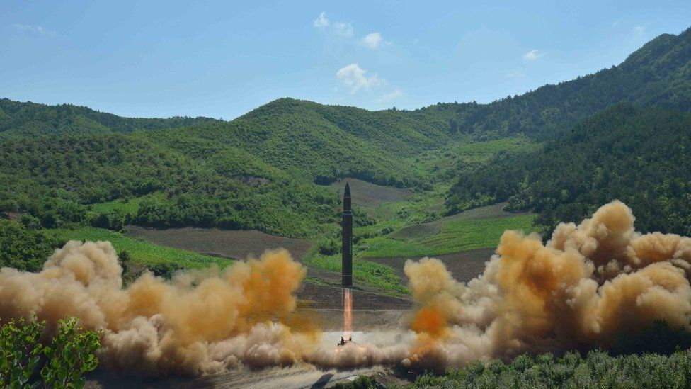 The intercontinental ballistic missile Hwasong-14 is seen during its test launch in this undated photo released by North Korea's Korean Central News Agency (KCNA) in Pyongyang, 4 July 2017