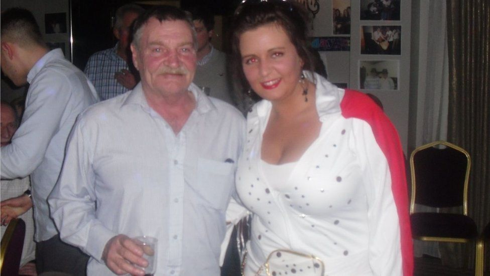 Caroline McKnight with her Dad Trevor at his sixtieth birthday party