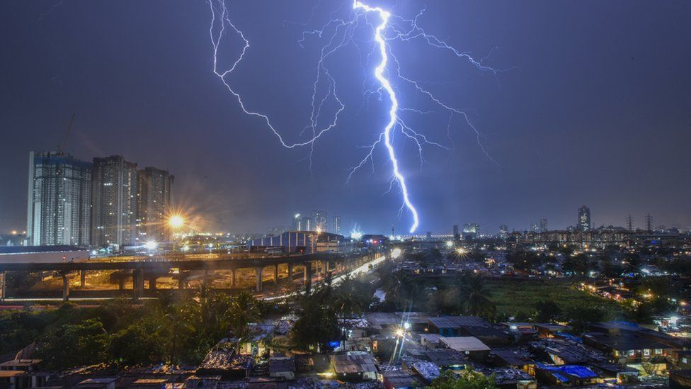 Lighting at Mumbai sky line with sudden heavy rain on 4 June 2018 in Mumbai, India