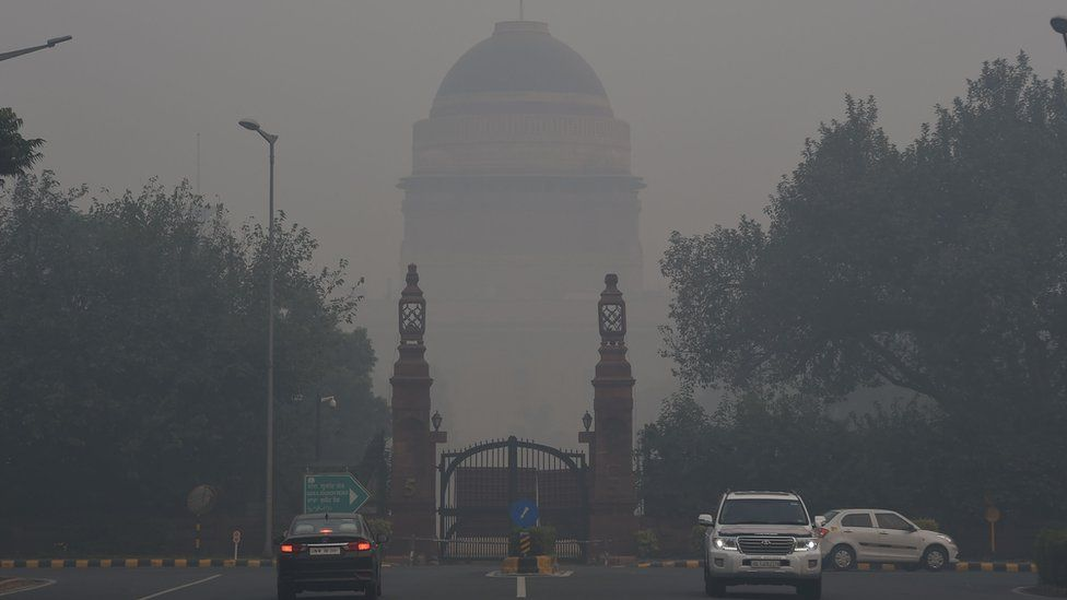 Smog covering Delhi