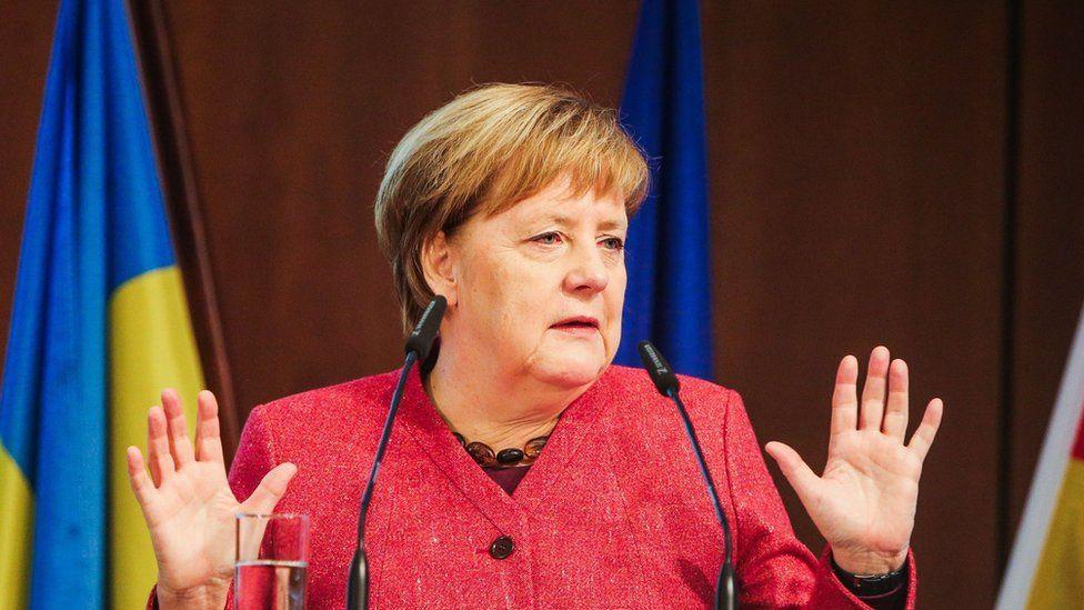Angela Merkel speaking at a business conference on 29 November 2018