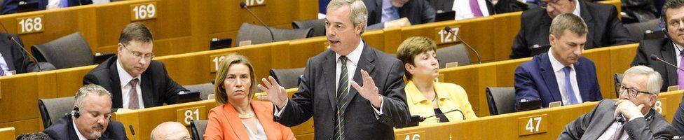 Nigel Farage (standing) in the European Parliament, 28 June