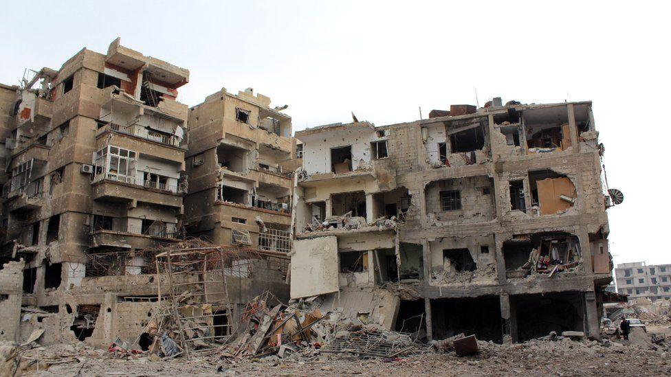 destroyed neighbourhood in the city of Darayya southwest of Damascus