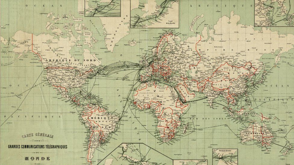 World Map of telegram communications cables in 1903