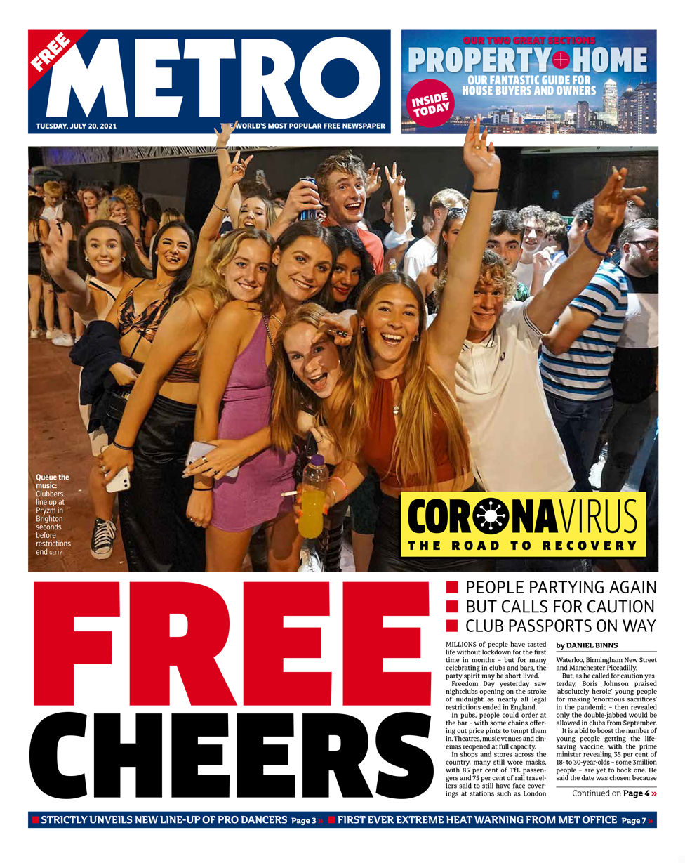 Metro front page 20/07/21