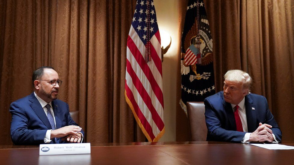 U.S. President Donald Trump listens to remarks from Robert Unanue, CEO of Goya Foods, prior to signing an Executive Order on the White House Hispanic Prosperity Initiative at the White House in Washington, U.S., July 9, 2020