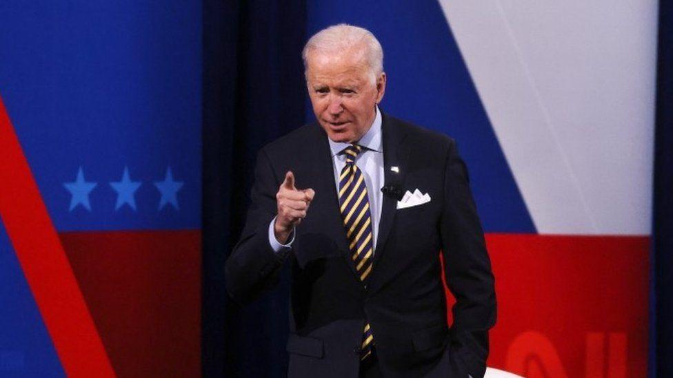 President Joe Biden participates in a CNN town hall in Milwaukee, Wisconsin
