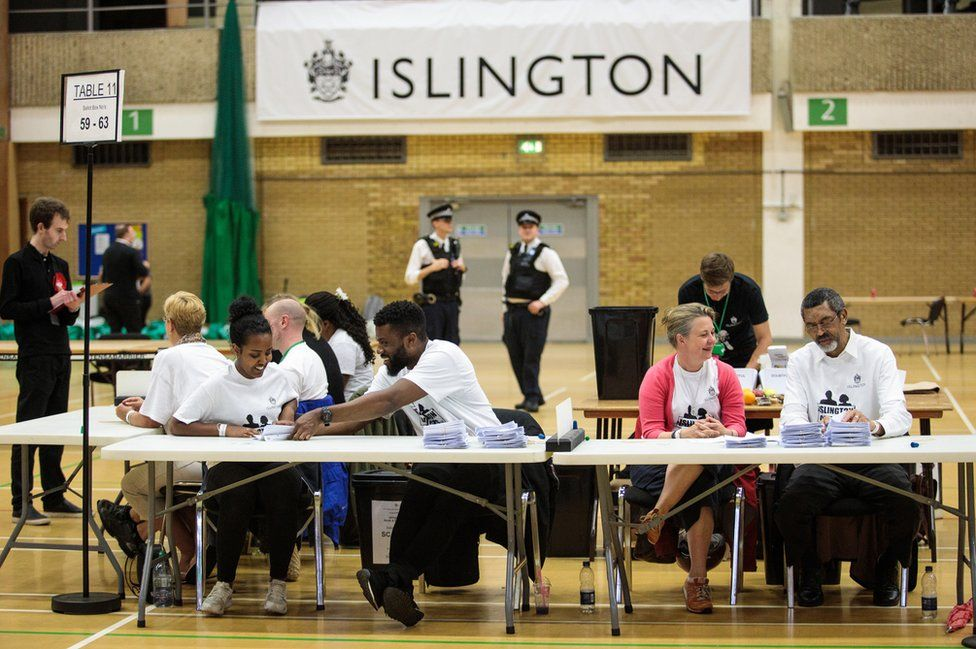Ballot papers are counted at the Sobell Leisure Centre during the Islington North and the Islington South and Finsbury counts on 8 June 2017.