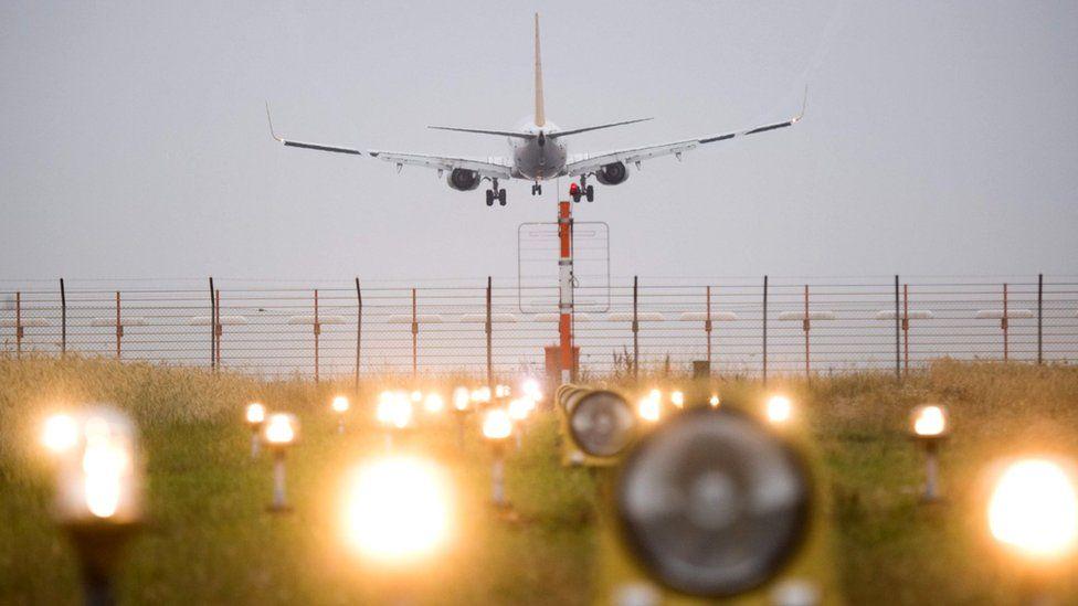 Passenger plane landing at Hanover Airport, Germany, file pic