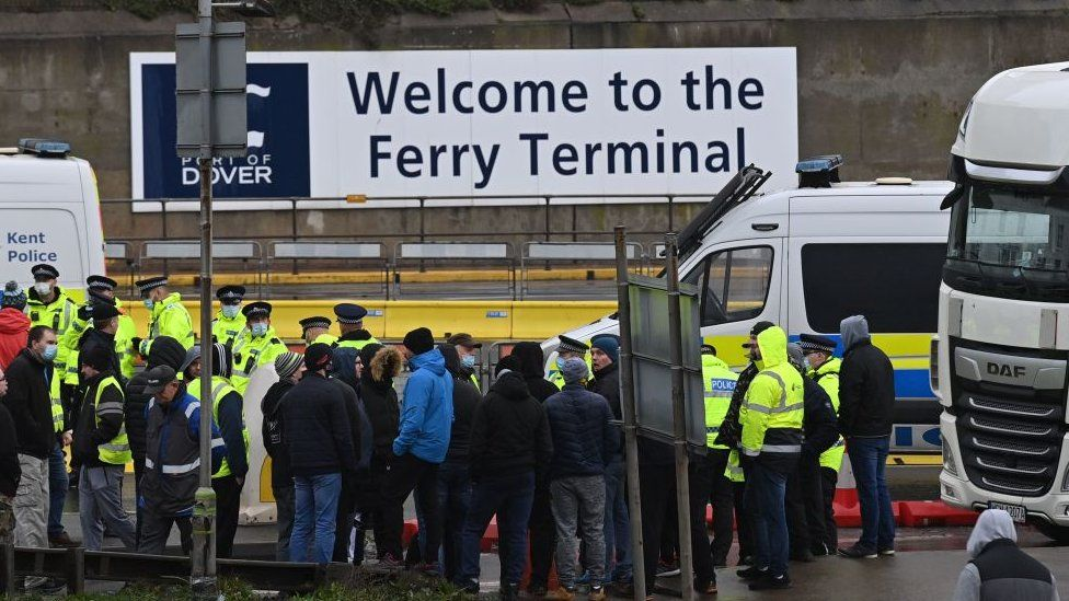 People crowd at the ferry terminal in Dover