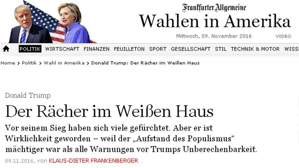 Headline from Frankfurter Allgemeine