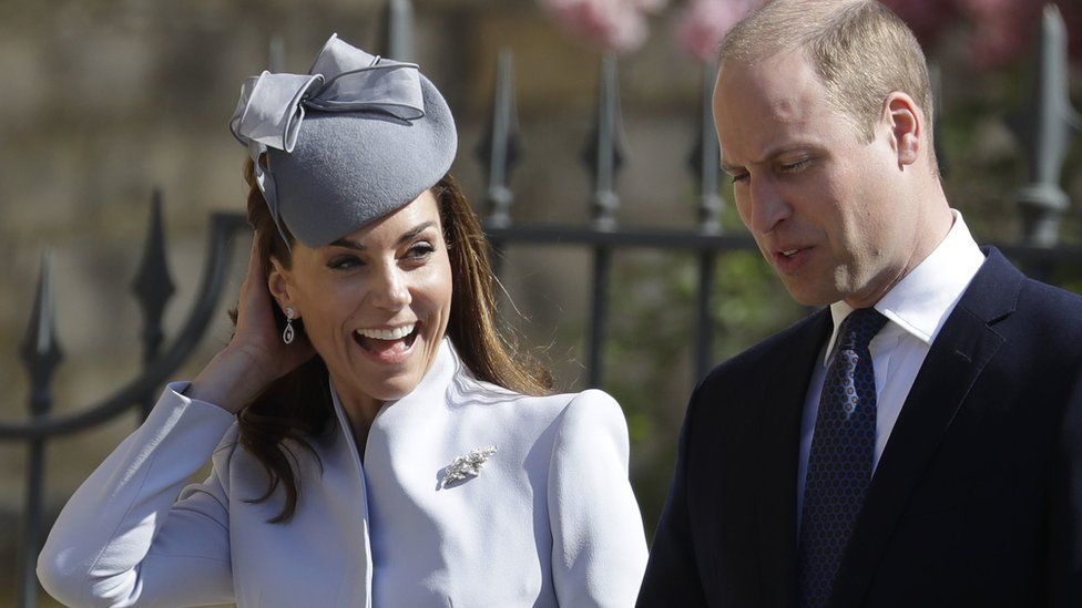 The Duke and Duchess of Cambridge arriving at the 14th Century chapel in Windsor Castle