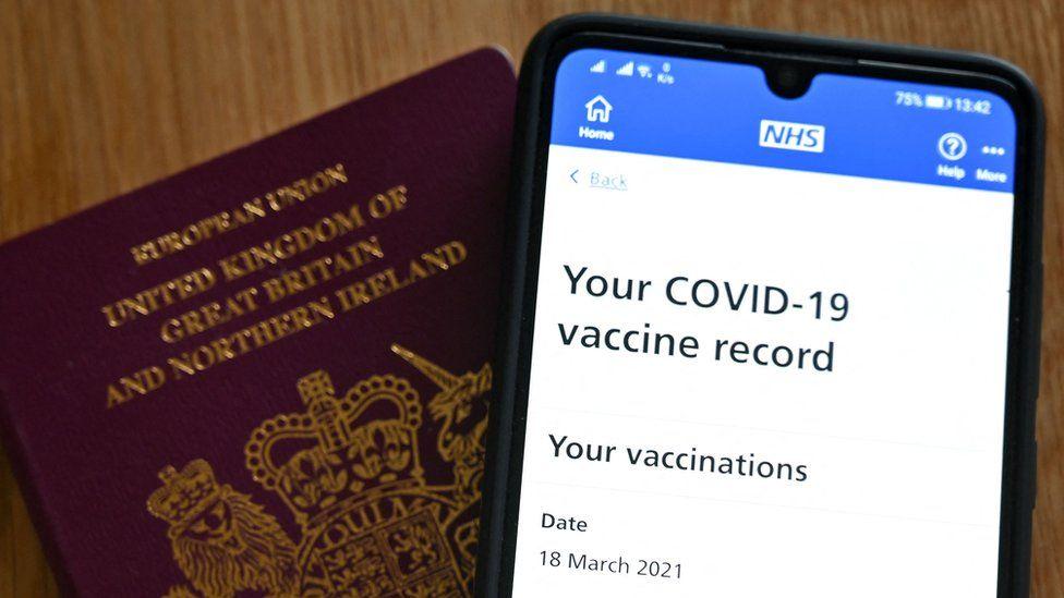A Covid vaccine records page