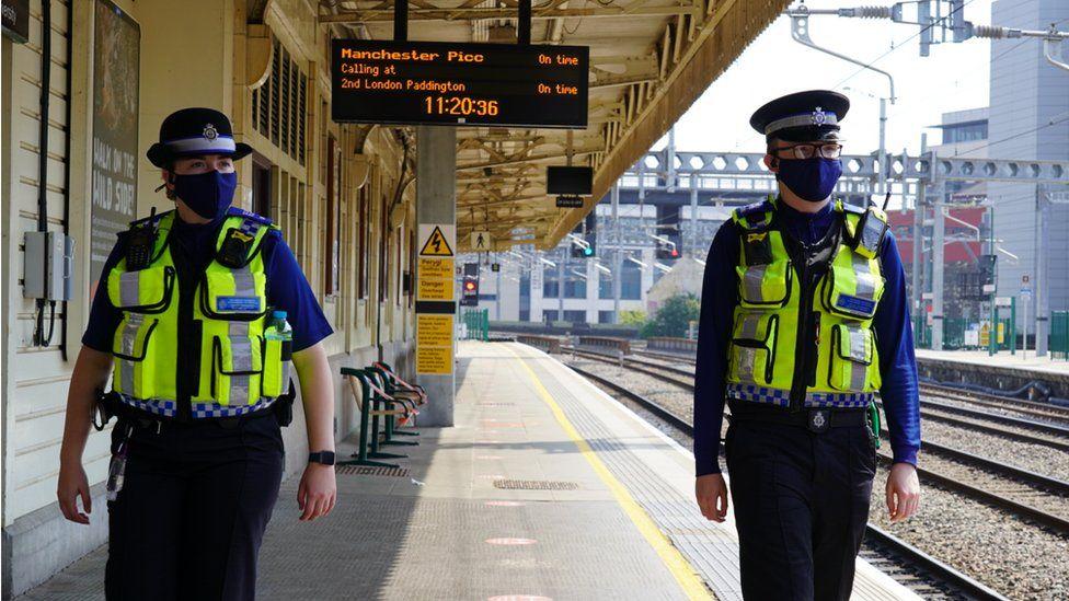 British Transport Police on platform