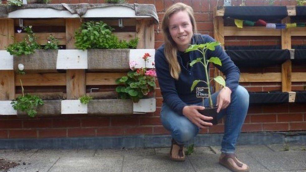 Robyn Wiles in her balcony garden