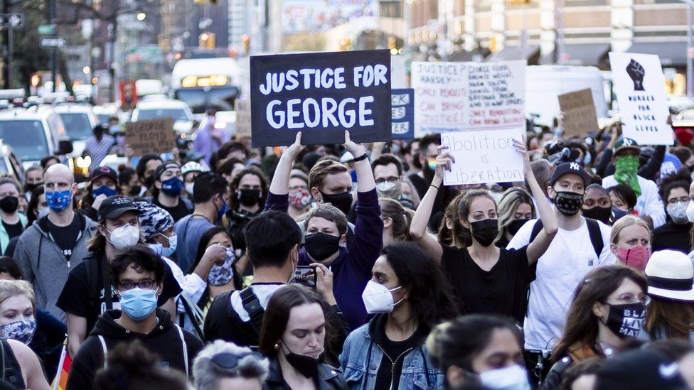 People march following the news that former Minneapolis Police Department Police Officer Derek Chauvin was found guilty on all counts in the death of George Floyd