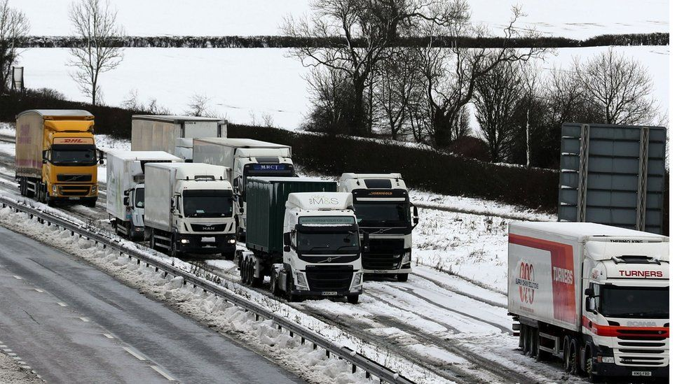 Lorries queue on the A14 in Northampton