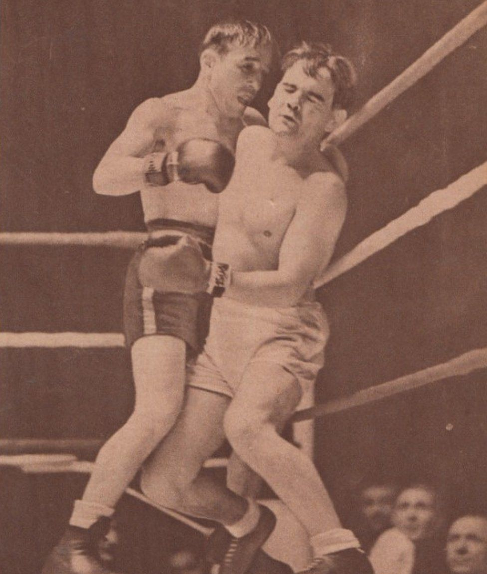 An overweight Benny Lynch is knocked out for the first time in 1938 against Aurel Toma