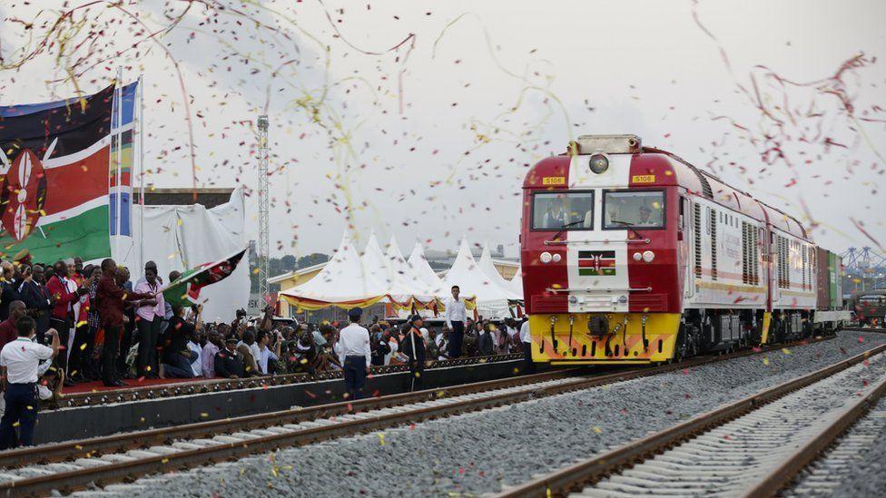 Celebrating launch of new railway