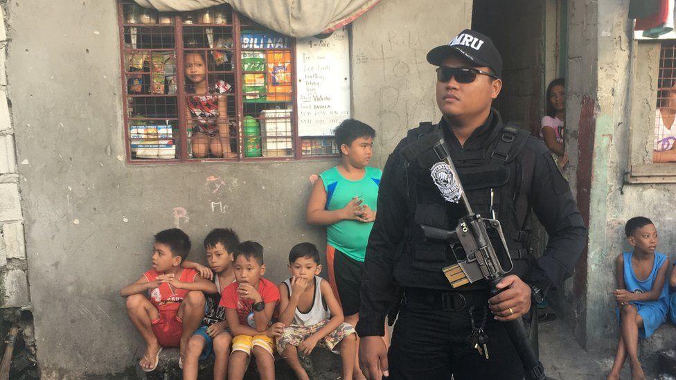 Policeman with Duterte badge