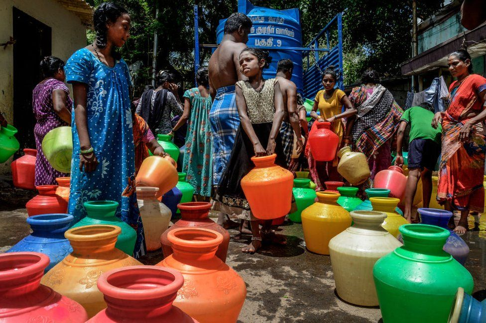 People in Chennai city gather water from tankers for daily use on June 29, 2019.