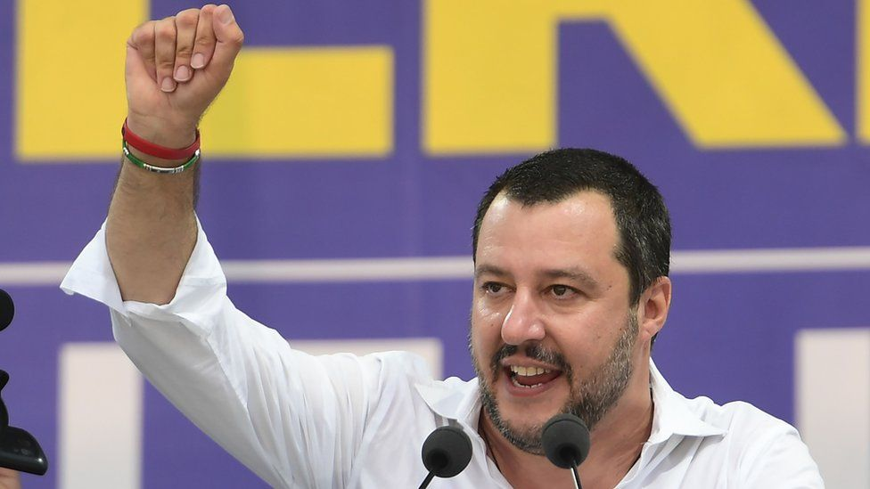 Matteo Salvini speaks during the annual rally in Pontida, Italy