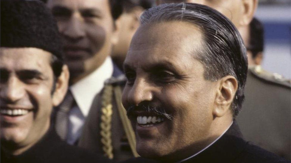 Photo of General Zia-ul-Haq, head of state of Pakistan, at Heathrow Airport in October 1980
