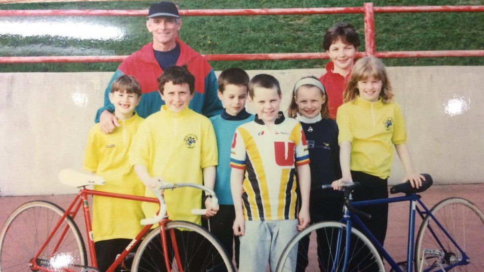 Geraint Thomas and other members of Maindy Flyers Youth Cycling Club