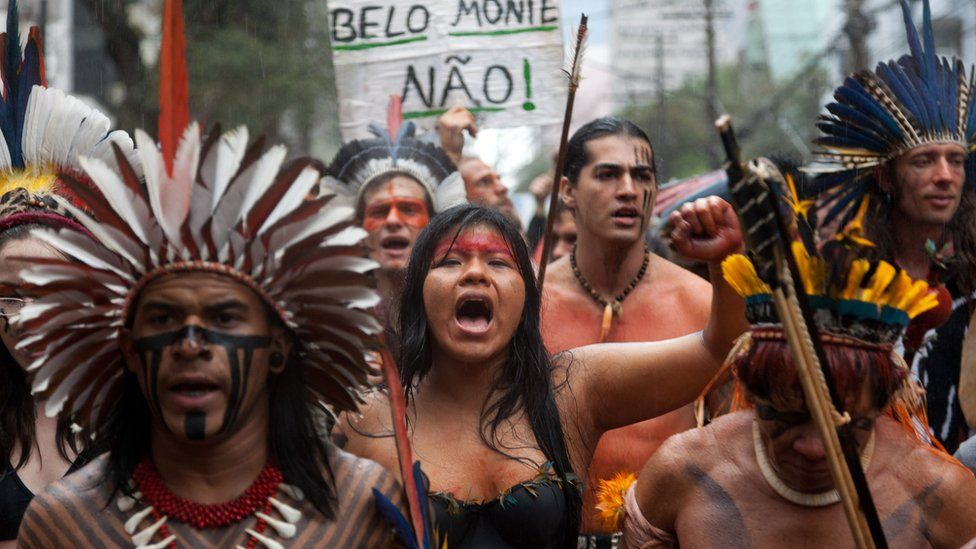 A protest against the Belo Monte dam in Sao Paulo.