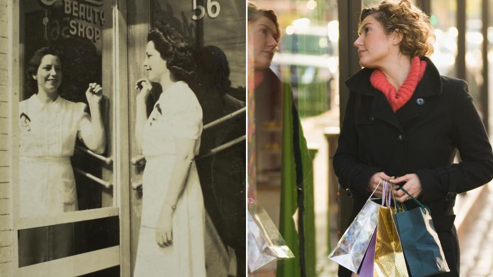 Woman from 1940s looking at reflection in shop window, woman from today looking at reflection in shop window