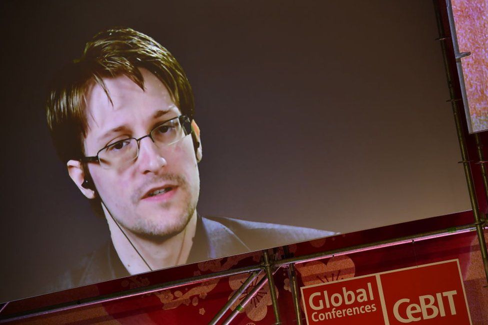 Edward Snowden addresses the CeBIT 2017 Technology Trade Fair technology conference from Russia
