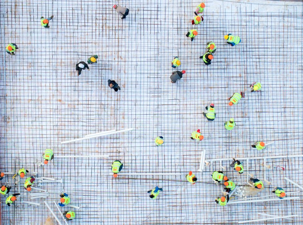 An aerial photo construction at the site of Huoshenshan Hospital