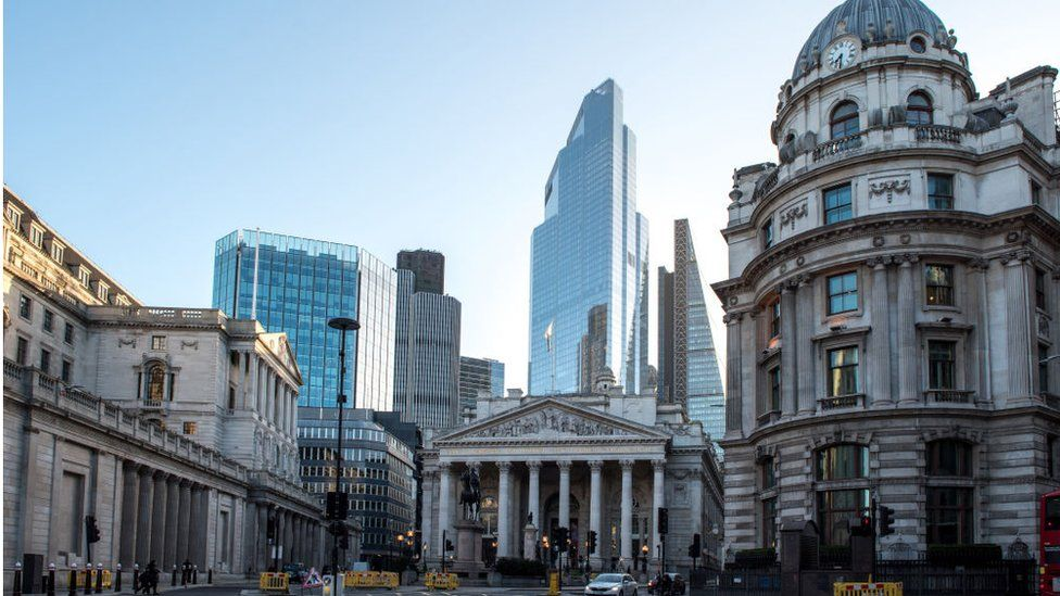 A general view of the Bank of England and the Royal Exchange at Bank with commercial skyscrapers.