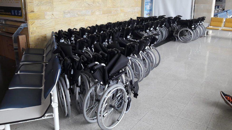 Wheelchairs at Palma Airport Mallorca